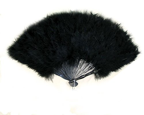 large black feather hand fan - 2