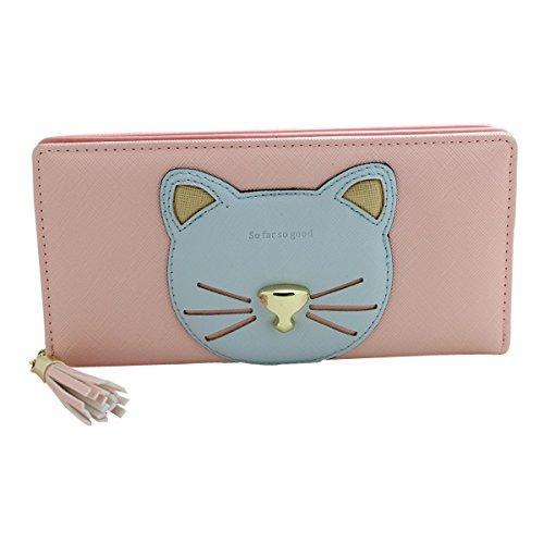 HeySun-Girls-Candy-Colors-Adorable-Cat-Clutch-Zipper-Around-Wallet-with-Tassel