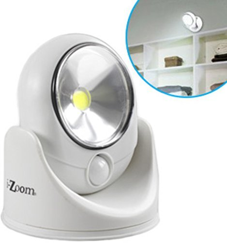 COB Wireless Safety fully-adjustable Light with Light and Motion Activate Sensors, 120 Lumens, Weather resistant, Indoor/Outdoor by iZOOM