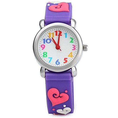 ELEOPTION Waterproof 3D Cute Cartoon Digital Silicone Wristwatches Time Teacher Gift for Little Girls Boy Kids Children (LOVE- Purple)