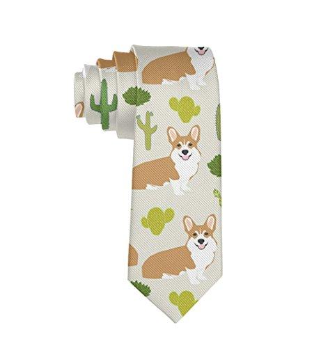 - MrDecor Men's Tie Corgi with Cactus Necktie Gift
