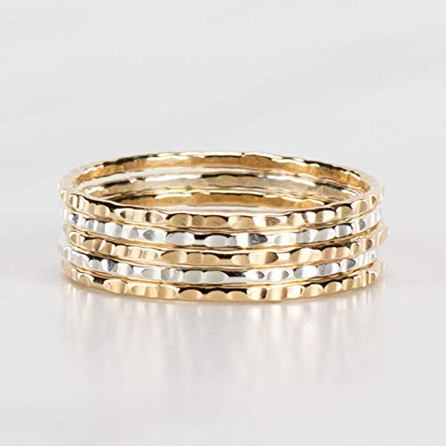 Hammered Stacking Rings, Mixed Metal 14K Gold Fill and Silver Set of 5 Custom Made to Your Size ()