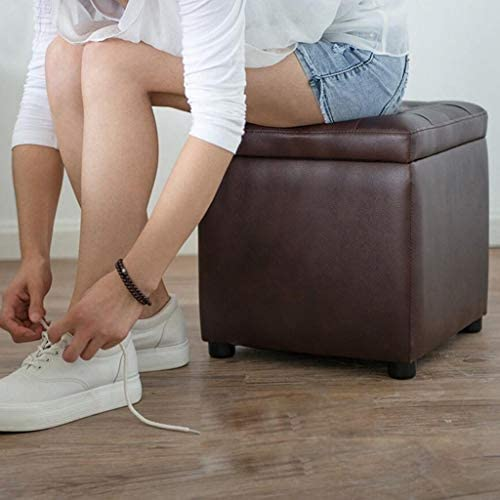 CHHD Chaise de Bureau, Tabouret de Rangement carré en Cuir Noir Changer Le Tabouret de Chaussure canapé Tabouret Tabouret Bas Tabouret