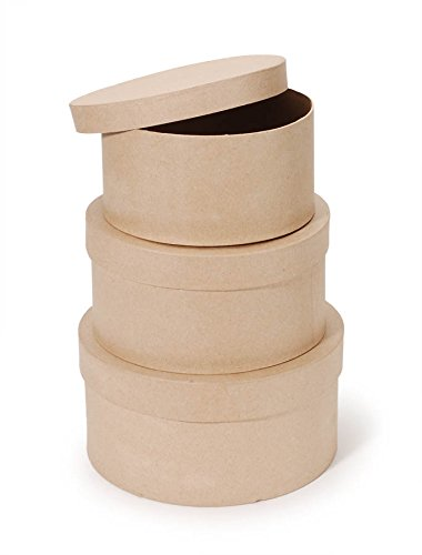 "Darice Paper Mache Craft Boxes – 8"", 9"" and 10"" Round Boxes With Lids – Sturdy Boxes Come Nested Inside Each Other – Perfect for Decorating – Create Card Boxes, Centerpieces and More, Set of 3 ()"