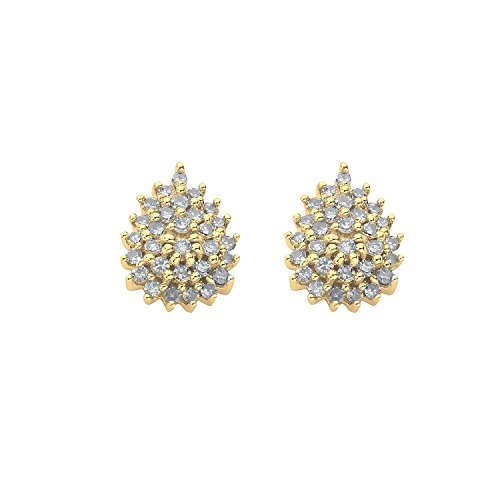 Jareeya-Diamant Cluster Boucles d'oreille à tige, Or 9ct, diamants 0,50CT