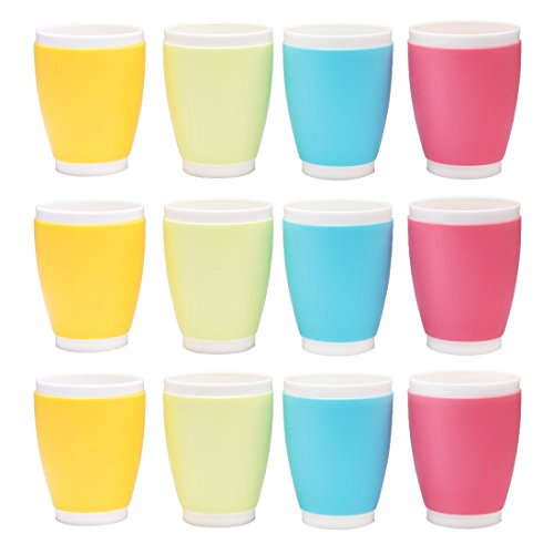 Tebery 12 Pack Kids Plastic Cups Toddler Cups BPA-Free Tumbler - 14 Ounce Capacity Assorted Colors by Tebery