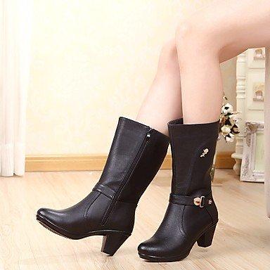 RTRY Zapatos De Mujer Invierno Botas De Cuero Auténtico Confort Chunky Talón Puntera Redonda Mid-Calf Botas Para Casual Negro Marrón US6 / EU36 / UK4 / CN36