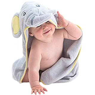 Little Tinkers World Hooded Baby Towel Gray Elephant Natural Cotton Soft and Absorbent Bath Towels with Hood for Babies, Toddlers, Perfect for Girls or Boys