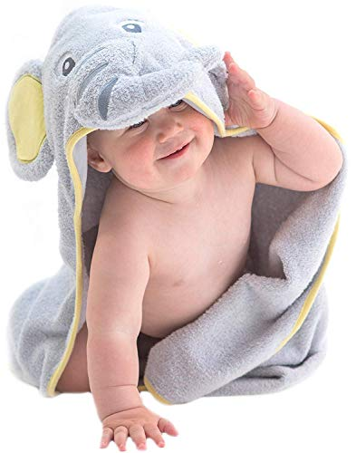 Hooded Baby Towel Gray Elephant by Little Tinkers World Natural Cotton Soft and Absorbent Bath Towels with Hood for Babies,...