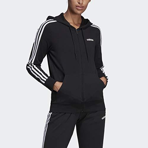 adidas Women's Essentials 3-stripes Single Jersey Full-zip Hoodie, Black/White, X-Small (Adidas 3 Stripes Zip Through Hoody Mens)