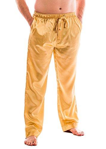 Men's Satin Lounge Pants (L, Golden) (Yellow Pajama Pants)