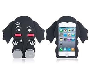 Miel Rabbit forma 3D elefante de silicona protectora para el iPhone 4/4S (Negro)