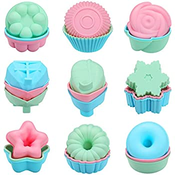 iiHOME Reusable Silicone Baking Cups Cupcake Liners Muffin Cups Cake Molds Pack of 12 Random Color