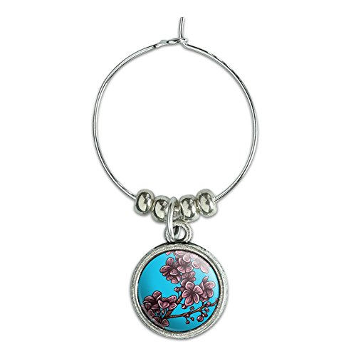 Wine Glass Charm Drink Marker Flowers - Cherry Blossoms