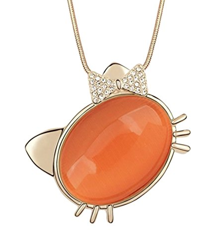Gift for Girls Rose Gold Plated Bow Tie Hello Kitty Animal Cat Pendant with Oval Shaped Orange Stone 31.5 inches Long Chain Sweater Necklace Fashion Jewerly