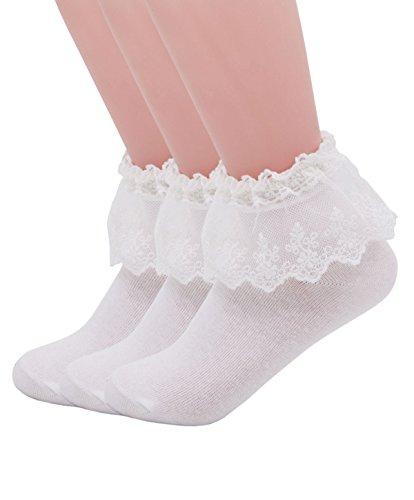 (YASIDI Women Lace Ruffle Frilly Ankle Socks (3 Pairs-White))