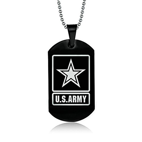 LF Men's Stainless Steel US Army Star Military Dog Tag Personalized Engravable Pendant Necklace for Dad Boyfriend Husband Gift Personalized