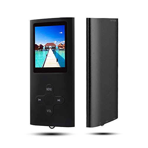 RHDTShop MP3 MP4 Player with a 16 GB Micro SD Card, Ultra Slim 1.7″ LCD Screen,Support UP to 64GB TF Card, Portable Digital Music Player/Video/E-Book Reader, Rechargeable Battery,Black