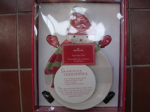 Hallmark Cheese Plate & 4 Spreaders ; Christmas Ceramic Home Decor