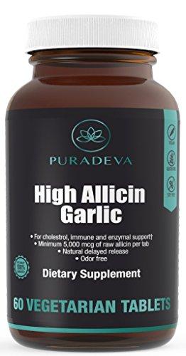 High Allicin Garlic - HYPOALLERGENIC, ODOR-FREE VEGAN 60TABS - 5000MCG of Raw Allicin per tablet. 60DAY SUPPLY. For enzymal, cardiac health + immune support.