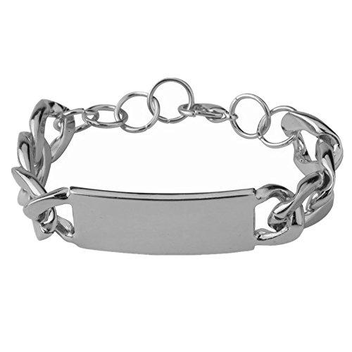 Qiji Women's Alloy Celebrated Choker ID Bracelet Heavy Cuban Chunky Chain Bracelet Shiny Metal Statement Jewelry (Silver Color Bracelet) ()