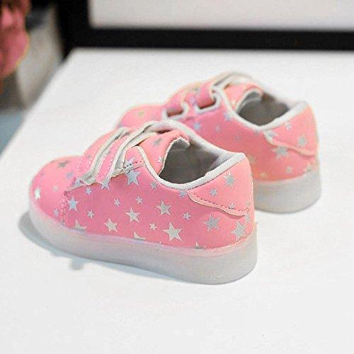 Transer® Baby LED Leuchtet Sneakers Kinder Mädchen Jungen Kleinkind Sport Laufen Walkingschuhe Casual Autumn Druck Sterne Bunte Helle Schuhe (Bitte eine Nummer größer bestellen) Rosa