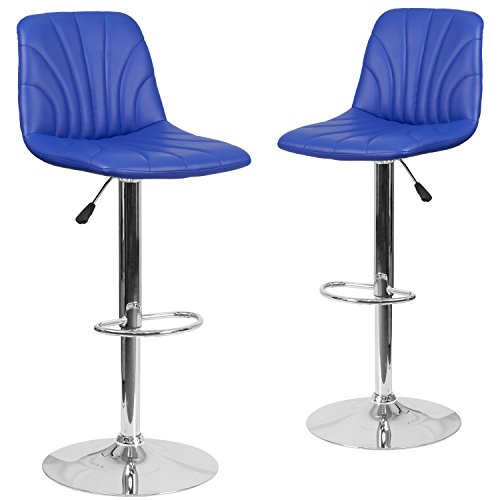 Flash Furniture 2 Pk. Contemporary Blue Vinyl Adjustable Height Barstool with Chrome Base