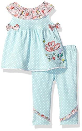 Quiltex Baby Girls' 2 Piece Playwear Set, Mint, 6/9