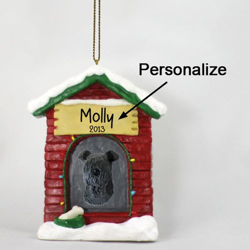 Kerry Blue Terrier Ornaments (Kerry Blue Terrier Personalizable Dog House Christmas Ornament - Hand Painted - Delightful)