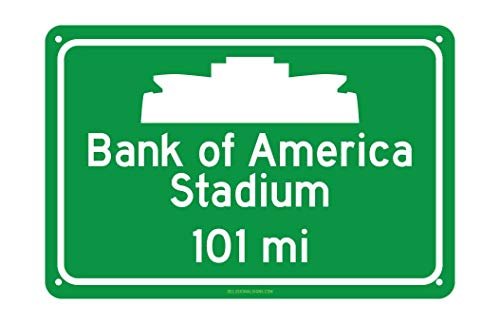 CELYCASY Custom Carolina Panthers Bank of America Stadium Miles to Stadium Highway Road Sign Customize The Distance