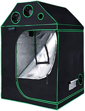 Quictent SGS Approved Eco-Friendly Reflective Mylar Hydroponic Grow Tent with Heavy Duty Anti-Burst Zipper and Waterproof Floor Tray for Indoor Plant Growing 4 Nylon Belts Provided 48 x48 x71