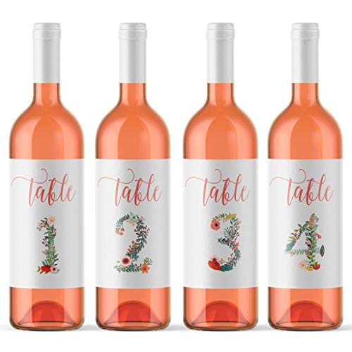 Floral Wedding Table Numbers Wine Bottle Labels Peel & Stick Wedding Place Card Centerpiece Seating Arrangement Board Favor Alternative | Wedding Reception or Party Decor Made in USA -