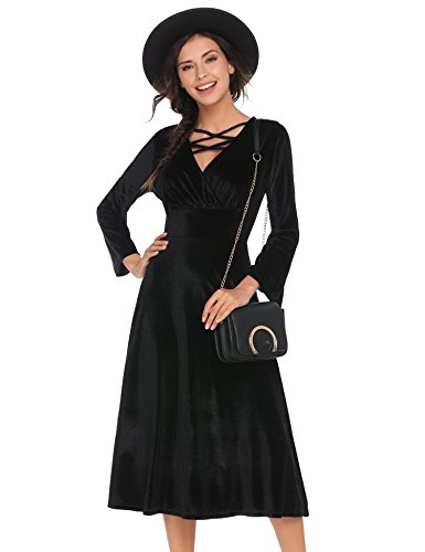 PEATAO Women's Long Sleeve Velvet Empire Waist Lace-up V-Neck Pleated Swing Dress Black/S