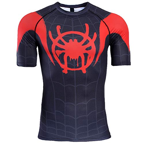 Spider-Man Into The Spider-Verse Short Sleeve Men's Compression Shirt (Large, Red/Black) -