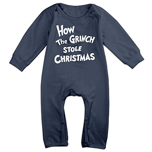 Grinch Costume Jim Carrey (Baby Infant Romper How The Grinch Stole Christmas Long Sleeve Jumpsuit Costume Navy 24 Months)