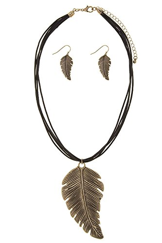 Tin Cup Costume (THE JEWEL RACK MULTI CORD STRANDED LEAF NECKLACE SET (Antique Gold))