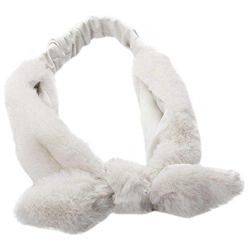 Cute 70s Costumes (ACTLATI Soft Women Girls Headband Bath Spa Make Up Elastic Hair Band Cute Rabbit Ears Fluffy Headwrap White)