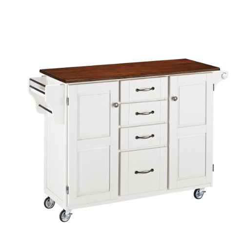 Home Styles 9100-1027G Create-a-Cart, White Finish with Cherry Top