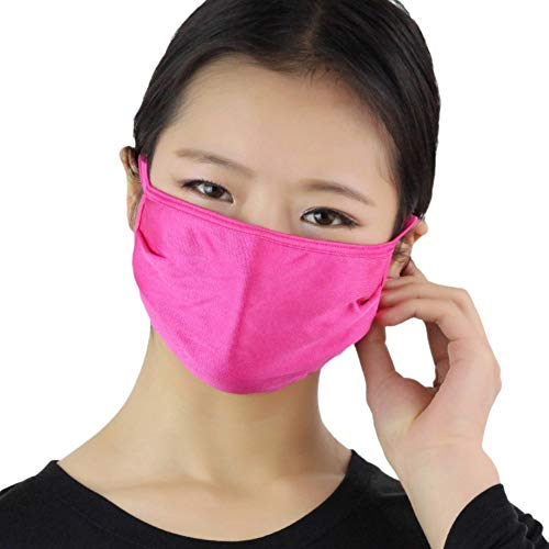 Fenfangxilas Fashion Unisex Mouth Face Cover Dust Proof Anti Droplet Washable Reusable Double Layer Silk Thin Face Mouth Safety Face for Dust Protection – Rose Red