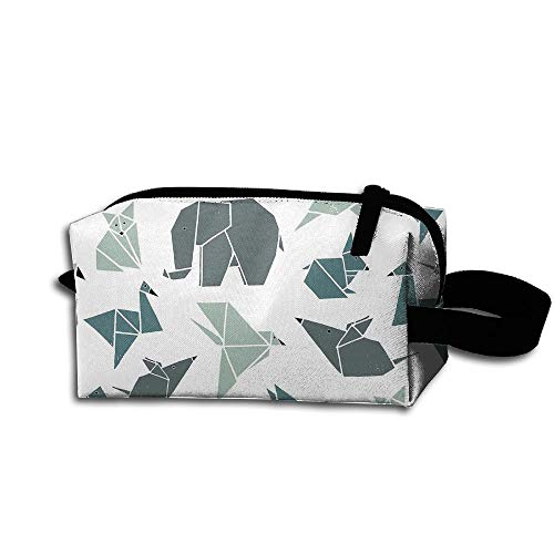 Makeup Cosmetic Bag Geometry Origami Animal Art Medicine Bag Zip Travel Portable Storage Pouch For Mens Womens by Homlife