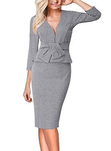 VFSHOW Womens V Neck Bow Ruffle Peplum Work Business Party Sheath Dress 1975 HTH ()