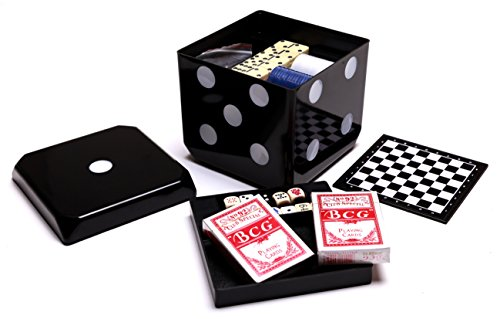 MMP Living 6-in-1 Game Cube - Chess, Checkers, Backgammon, Poker, Dominoes, Playing Cards - Black