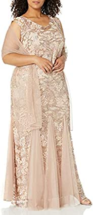Alex Evenings Womens Plus Size Long Embroidered Fit and Flare Dress Special Occasion Dress