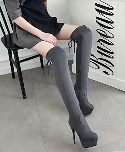 High Hohe Super Stiefel Heels High Lange Damen Knie Stiefel Damen Heels HCBYJ Oberschenkel spitz über Plattform Reißverschluss Stiefel die 4x0wgqvWY
