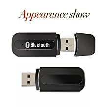 USB Bluetooth Receiver, Aigital USB Wireless Audio Adapter Bluetooth Car Kit Adapter Music Receiver, Work With Portable Speakers,Headphones,Home/Car Stereo Speaker system With 3.5mm AUX Cable-Black