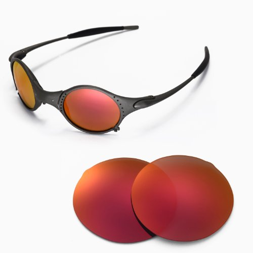 Walleva Replacement Lenses for Oakley Mars Sunglasses - Multiple Options Available (Fire Red Mirror Coated - - Mars Sunglasses