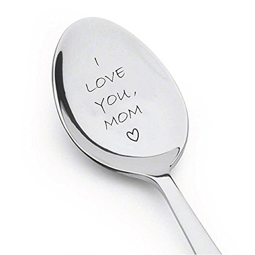 I Love You Mom Spoon - Customized Gift Unique Birthday, Valentine's Day Gifts for Her, Him, Mom Dad - High Quality Engraved Spoon - Spoon Gift #A35 (Valentines Day Gifts For Dad)