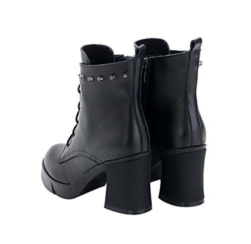 para metal Boots mujer de B1023 de Martin remaches negro cuero HooH 6EqUX8x