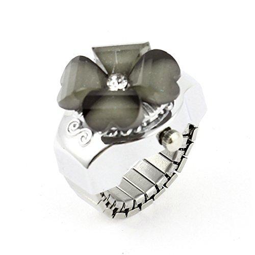 eDealMax plastica Lady copertina Decor Strass di Cristallo del trifoglio l'anello di barretta Guarda Grey