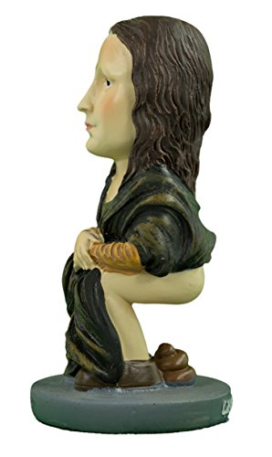 Caganer Shop Mona Lisa Caganer Modern Interpretation of Catalan Nativity Scene Poo Figurine-Pooping Statue-Funny Gift, Great White Elephant Gift, Hilarious Holiday Tradition